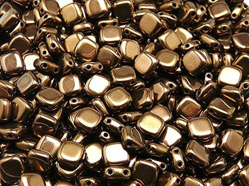 40pcs Tchèque Perles de verre Tuile à deux trous, Plat Carré 6x6x2.9mm Jet Bronze Luster