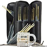 25 Pieces Premium Practice Lock Pick Set, Geepro Crystal Transparent Professional Visible Cutaway Inside View Padlocks with 2 keys, 24pcs Various Picks Crochet Hook, Wrenches, Leather Pouch for Locksmith Training