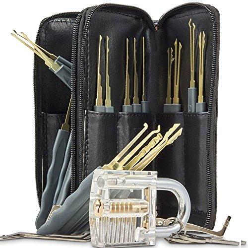 Geepro 25 Pcs kit de Crochetage Serrure Verre Transparent Cadenas Professionnel avec 2 clés 24pcs Divers Crochet