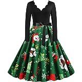 KOLY Vestito di Natale delle Donne Swing Vestito con Cintura Abito A Ginocchio Abito da Cocktail Abbigliamento Abiti da Sera
