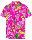 King Kameha Funky Hawaiihemd, Kurzarm, Flamingos Melonen, Pink, XL