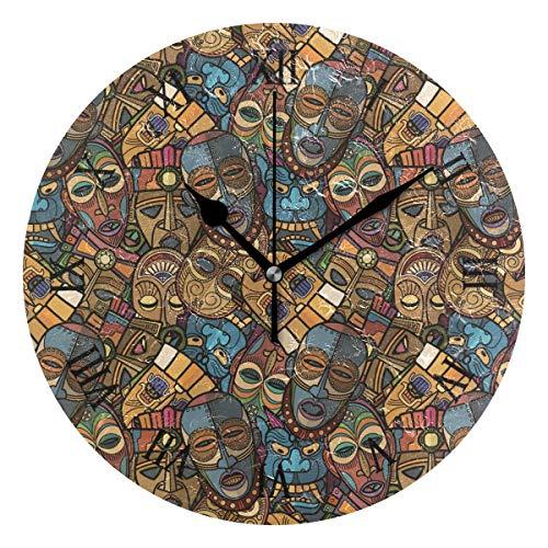 Ahomy African Craft Voodoo Tribal Maske Ziffernwanduhr 24 cm rund Uhr leise Nicht tickend batteriebetrieben leicht ablesbar für Home Office Schule