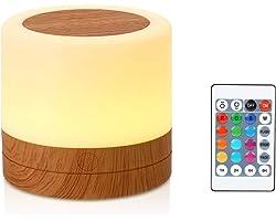 Taipow Veilleuse, Mini Lampe de Chevet Multicolore à 360°, Lampe Nuit Rechargeable avec Toucher Luminosité Ajustable Télécomm