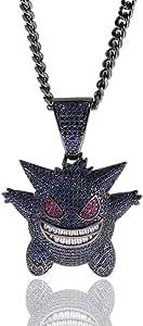 Moca Jewelry - Collana unisex con ciondolo a forma di Gengar in stile hip hop, placcata in oro 18 K, con catenina in corda in acciaio inossidabile da 61 cm