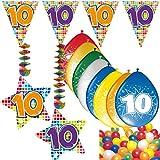 Carpeta 54-Teiliges Partydeko Set * Zahl 10 * für Kindergeburtstag Oder 10. Geburtstag mit Girlande, Rotorspiralen, Luftschlangen und Vielen Luftballons