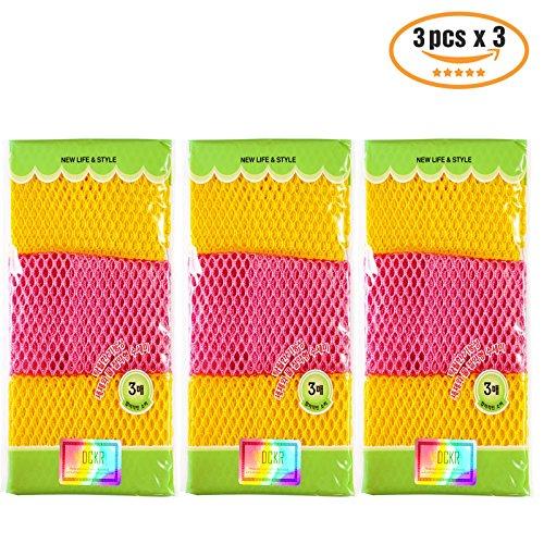 Gericht Waschtücher (27,9cm von 27,9cm) Schwämme Scrubber für geruchsfrei 6P 9p- Quick Dry, Multi Purpose Schrubben–Hohe Qualität Scrub Topfreiniger Pads (Pack von 3), 9 pcs (Kitty-peeling)