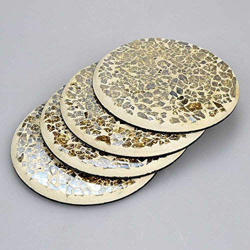 Set Of 4 Round Gold Mosaic Coasters