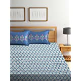 Trident Dusk and Dawn 144 TC Cotton Double Bedsheet with 2 Pillow Covers - Abstract, Queen Size, Dennis Blue