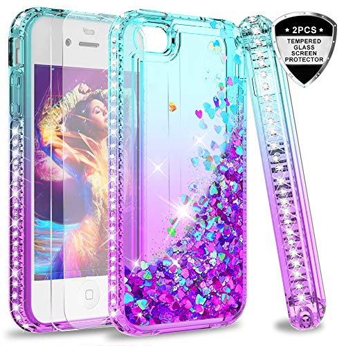LeYi Hülle iPhone 4 / iPhone 4S Glitzer Handyhülle mit Panzerglas Schutzfolie(2 Stück), Diamond Cover Bumper Schutzhülle für Case iPhone 4 / iPhone 4S Handy Hüllen ZX Gradient Turquoise Purple -