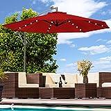 Luxus Sonnenschirm mit LED Beleuchtung Ampelschirm 300 cm Solar Garten Schirm Pavillon (Rot)