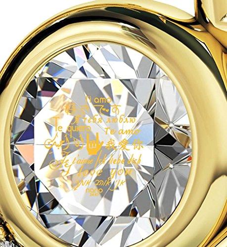 Pendentif Coeur - Bijoux Plaqué Or avec Je t'aime en 12 langues inscrit en Or 24ct sur un Cristal Swarovski, Chaine en Or Laminé de 45cm - Bijoux Nano Transparent