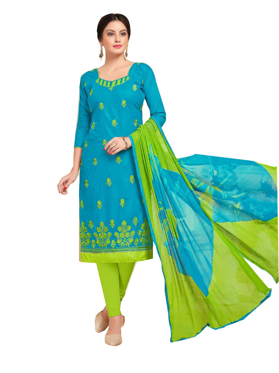 5336d7daf6 Shree Ganesh Retail Womens Lone Cotton With Embroidery Churidar Material |  Salwar Suit | Salwar Kameez Unstitched Dress Material (BLUE & PARROT GREEN  1004)