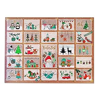 Adventskalender für Kinder und Erwachsene mit Süßigkeiten und Weihnachtsgebäck. Mit perforierten Türchen, die Du als Geschenkanhänger verwenden kannst. 1x400g Inhalt