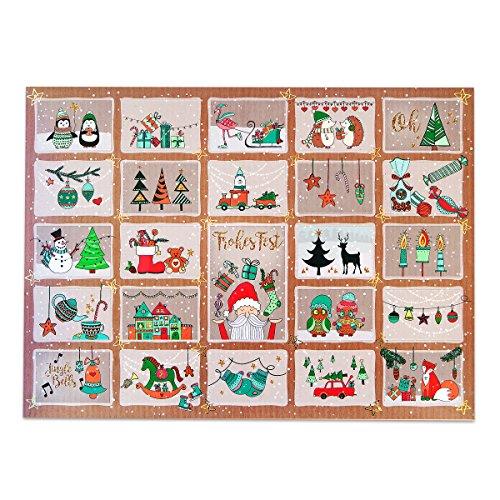 Preisvergleich Produktbild Adventskalender für Kinder und Erwachsene mit Süßigkeiten und Weihnachtsgebäck. Mit perforierten Türchen,  die Du als Geschenkanhänger verwenden kannst. 1x400g Inhalt
