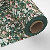 Encasa Homes Cotton Printed Fabric Material 100 x 140 cm Width (39 x 55 inch) - Green Roses - Decor Twill Cloth, Designs for Sofa, Furnishing, Upholstery, Curtains, Cushions, Bedcover - 1 Meter Multiple