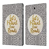 Ufficiale Pom Graphic Design Let's Travel New Roads Tipografia Cover a Portafoglio in Pelle per Samsung Galaxy Tab S4 10.5 (2018)