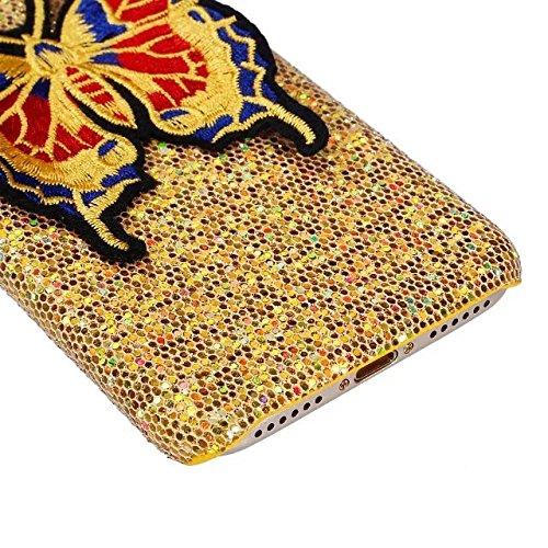 Etsue Glitzer TPU Schutzhülle für iPhone 6 Plus/6S Plus 5.5 Zoll Silikon Handyhülle, Luxus Glitter TPU Hybrid Schutzhülle Ultra Dünn Glänzend Schale Bing Soft Rückseite Bumper Sparkles Handytasche Kra Schmetterling,Golden