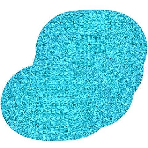 Veranda Oval gewebt Spiral Platzsets Set von 4(blau)