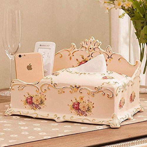 HUAZHUANGXIANGBAO Desktop Storage Box europäischen Stil Box Keramik Gewebe Kosmetik-Box Aufbewahrungsbox einfachen TV Wohnzimmer Couchtisch Fernbedienung -