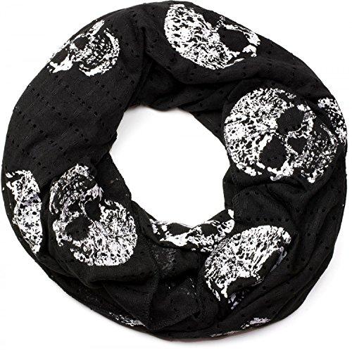 Unisex Tuch Sterne Peace Totenkopf Skull Muster Loop Schlauchschal