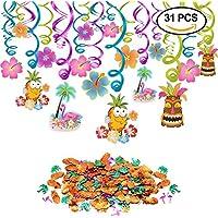 Hawaianas fiesta Luau colgar remolino decoración (30pcs) piñas Flamingos confeti de mesa (0.53 oz) para Luau Tropical Tiki Beach Hawai fiesta cumpleaños decoraciones