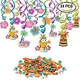 Konsait Hängedekoration Hawaii Deckenhänger girlanden (30er Set) Ananas Flamingos Kokospalme Konfetti Tischdeko (0.52 Unzen) für tropische Hawaiian Luau Party Dschungel Strand Dekoration Zubehör