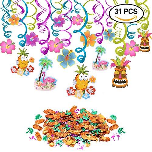 Konsait festa hawaiana festoni a spirale (30pcs) ananas fenicotteri coconut palm hibiscus confetti da tavolo (0,53oz) per barbecue tropical garden beach estate tiki decorazioni per feste