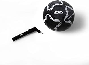SYN6 Football, Street Soccer Ball Black with Pump, Made with Recycled tyre, Excellent for Concret and Hard Grounds