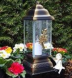 ♥ LED GRABLAMPE Ornament Rose 34,0cm Bronze MIT LED GRABKERZE Grablicht GRABLATERNE GRABSCHMUCK GRABLEUCHTE Laterne Kerze Lampe LICHT