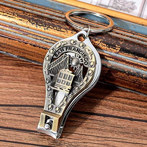 VAWAA San Francisco Schlüsselanhänger Amerika Land Stadt Silhouette Nagel Clipper Schlüsselanhänger Cutter Werkzeug Flaschenöffner Schlüsselanhänger (Mädchen Silhouette Charme)