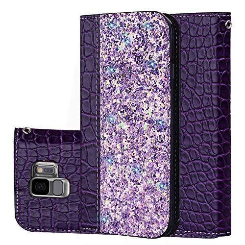Lspcase Samsung S9 Case, Galaxy S9 Leder Hülle Flip Case Cover für Samsung Galaxy S9 [Kartensteckplätze] [Stand Feature] [Magnetic Closure Snap] - Lila Krokodilmuster Lila Cover Case Snap