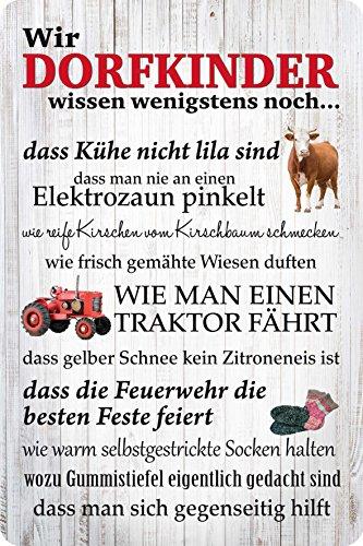Wir Dorfkinder - Blechschild 20x30 cm - Fussball Feuerwehr Traktor Dorfkind PC 300/420 -