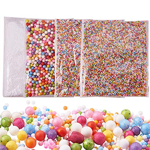 PandaHall Elite - Lot de 4 Packs Boules de Mousse Slime Perles pour la CR¨¦ation de Slime Art DIY Crafts et la D¨¦coration de f¨ºte ou No?l, Couleur Melangee, 2.5~9mm