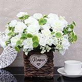 DSPOPEN68 Kunstblumen Künstliche Blume Urlaub Geschenk Wohnzimmer Schreibtisch Fensterbank Hochzeit Party Küche Wohnkultur Kleine Topf Zaun Pan Weiß -01