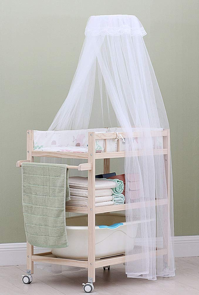 Baby Changing Table Dresser Unit with Mosquito Net & Storage Box, Heavy Duty Wood Diaper Station On Wheels GUYUE 2-gear higth adjustment (88-95cm), the height can be adjusted freely according to the height of the mother. Guardrail: Guardrail height 13cm, Protect your baby's delicate body. Strong and sturdy wood construction, Pine wood production, health and Environmental Protection.(Load bearing 150kg) 4