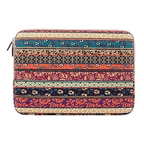 Plemo Laptophülle, Bohème Stil Canvas-Gewebe Hülle Sleeve Tasche für 33-33,8 cm (13-13,3 Zoll) Laptop / Notebook Computer / MacBook / MacBook Pro / MacBook Air, Mystischen Wald