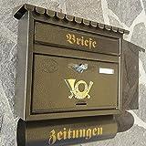 Großer Briefkasten / Postkasten XXL Gold Altgold mit Zeitungsrolle Flachdach Katalogeinwurf Zeitungsfach
