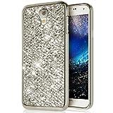 Galaxy S4 Mini Hülle,Surakey Luxus Glänzend Glitzer Strass Diamanten Handyhülle TPU Silikon Hülle Case Tasche Weiche Silikon Rückseite Glitzer Schutzhülle für Galaxy S4 Mini, Silber