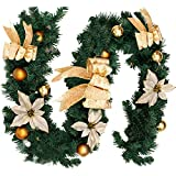6Ft/1.8M Decorated Garland Christmas Decoration Xmas Festive Wreath Garland With Berries And Pinecones Gold