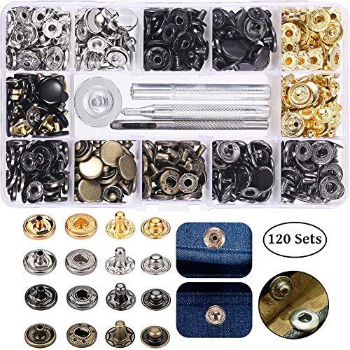 sinzau 120 Set Metall Druckknöpfe, Metall Druckknopf mit Fastener Tool, für Bekleidungs-Reparatur, Jacken, Jeans, Riemen und Nähen Jobs, 4 Farben Gold, Silber, Bronze, Gunmetal - Gunmetal Bekleidung