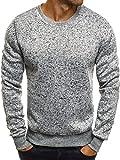 OZONEE Herren Sweatshirt Langarmshirt Pullover Basic Longsleeve Fitness Sport Gym Training Täglichen Crewneck Modern Streetwear 06B WEIß XL