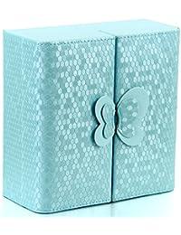 JewelryWe Joyería Organizador Azul para Bisuterías, Caja Joyero Vintage Retro de Mariposa Preciosa, Princesa Joyero de Chicas para Pendientes, Anillos, Pulseras y Collares, Color Azul Cielo