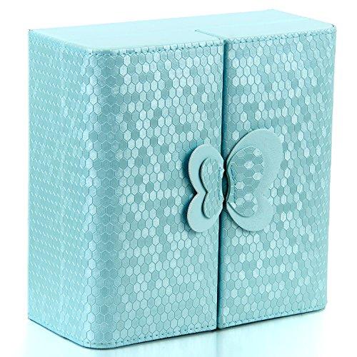 JewelryWe-Joyera-Organizador-Azul-para-Bisuteras-Caja-Joyero-Vintage-Retro-de-Mariposa-Preciosa-Princesa-Joyero-de-Chicas-para-Pendientes-Anillos-Pulseras-y-Collares-Color-Azul-Cielo