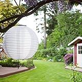 Solar Lampions 5er Set Led Laterne Wasserfest IP55 für Garten Deko Terrasse, Hof, Haus, Weihnachtsbaum aus Nylon/Seide Kaltweiß Weiß