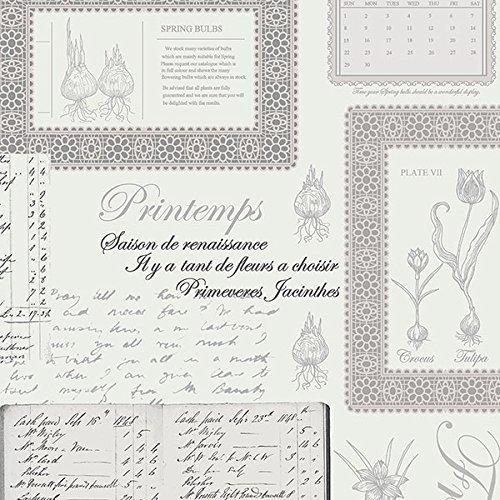 Papier-Tapete Vintage Collage Dokumente Schriftrollen Antike Blumen Pflanzen Design Klassischer Shabby Chic Zeitgenössisch Boden Weiß und Druck grau schwarz puder fk34417Fresh Kitchens 5. -