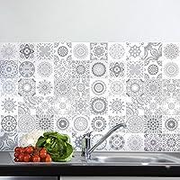 Ambiance-Live 60pegatinas adhesivas para azulejos | Sticker autoadhesivo para azulejos - Mosaico para azulejos murales de cocina y baño - Embaldosado adhesivo en tonos grises 10x 10cm.60unidades