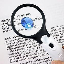 LED lámpara luz, Iluminado Lupa de mano con lente de cristal lupa eholder para personas mayores leer pequeñas impresiones libro, y periódico, joyería lupa