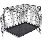 Songmics 2 Türen Hundekäfig Transportbox faltbar Käfig XL 91 x 58 x 64 cm PPD36H