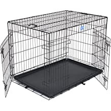 Songmics Jaula metálica para perro gato conejo Plegable Transportable 106 x 70 x 77,5 cm Negro PPD42H