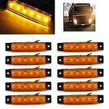 USUN 10st 6 LED 12V Gelb LKW Van Anhänger Seitenlinie vorne Chrome Bezel Markierungs Licht Lampen Anzeige